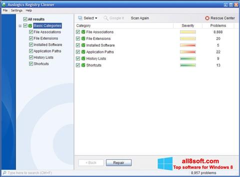Screenshot Auslogics Registry Cleaner Windows 8